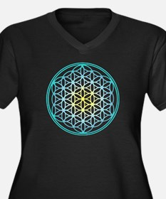 Flower of Life - Aqua Women's Plus Size V-Neck Dar