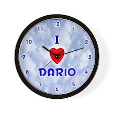 I Love Dario (Blue) Valentine Wall Clock
