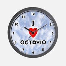 I Love Octavio (Black) Valentine Wall Clock