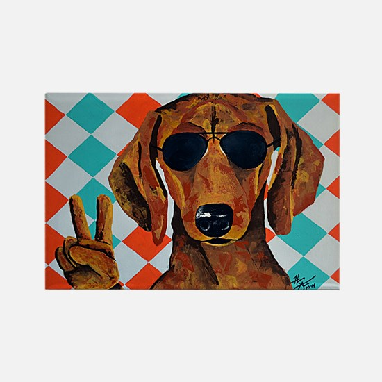 Dachshund Peace Sign Magnets