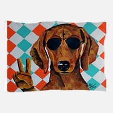 Dachshund Peace Sign Pillow Case