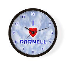 I Love Darnell (Blue) Valentine Wall Clock