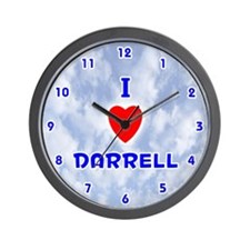 I Love Darrell (Blue) Valentine Wall Clock
