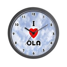 I Love Ola (Black) Valentine Wall Clock