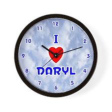 I Love Daryl (Blue) Valentine Wall Clock