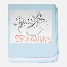 Zombie Snowmen Brains baby blanket