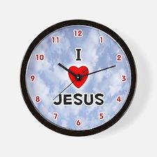 I Love Jesus (Red/Blk) Valentine Wall Clock