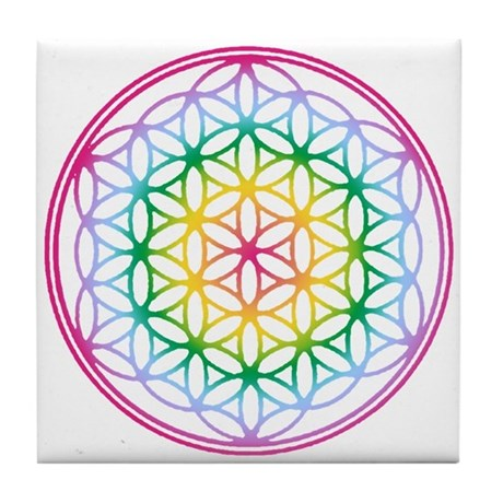 Flower of Life - Rainbow Tile Coaster