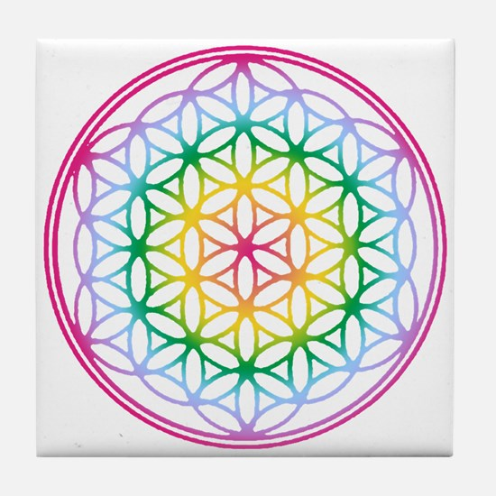 Flower of Life - Rainbow Tile Coaster