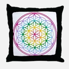 Flower of Life - Rainbow Throw Pillow