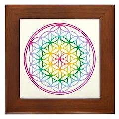 Flower of Life - Rainbow Framed Tile