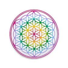 "Flower of Life - Rainbow 3.5"" Button"