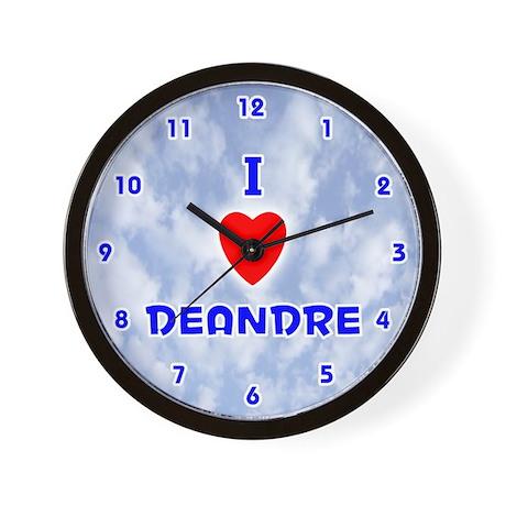 I Love Deandre (Blue) Valentine Wall Clock
