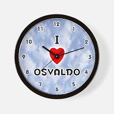 I Love Osvaldo (Black) Valentine Wall Clock