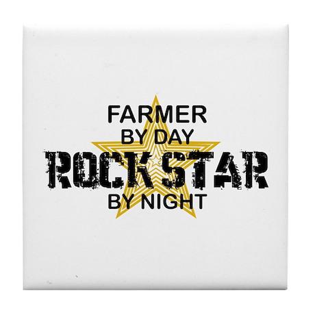 Farmer Rock Star Tile Coaster
