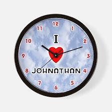 I Love Johnathan (Red/Blk) Valentine Wall Clock