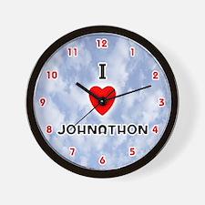 I Love Johnathon (Red/Blk) Valentine Wall Clock