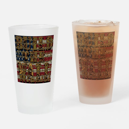 Build Wall Flag Barb Drinking Glass