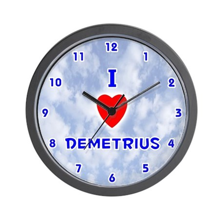 I Love Demetrius (Blue) Valentine Wall Clock