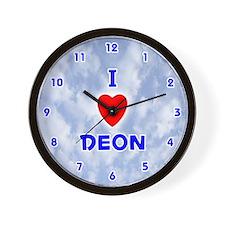 I Love Deon (Blue) Valentine Wall Clock