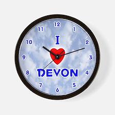 I Love Devon (Blue) Valentine Wall Clock