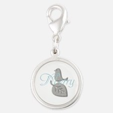 Cute Add Text Merry Christmas Silver Blue Charms