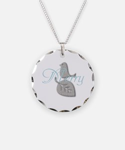 Cute Add Text Merry Christmas Silver Blue Necklace