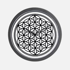 Flower of Life in Black Wall Clock