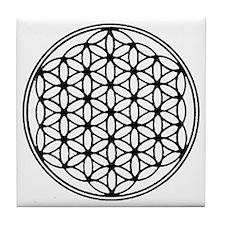 Flower of Life in Black Tile Coaster