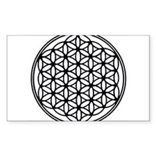 Flower of Life in Black Rectangle Stickers