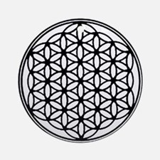 Flower of Life in Black Ornament (Round)