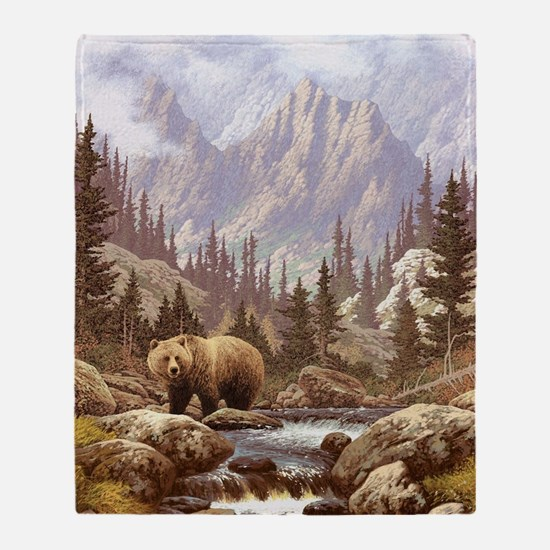 Grizzly Bear Landscape Throw Blanket