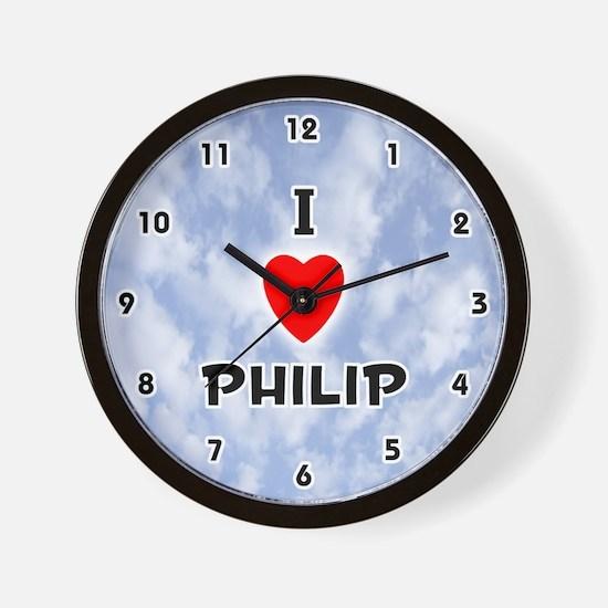 I Love Philip (Black) Valentine Wall Clock