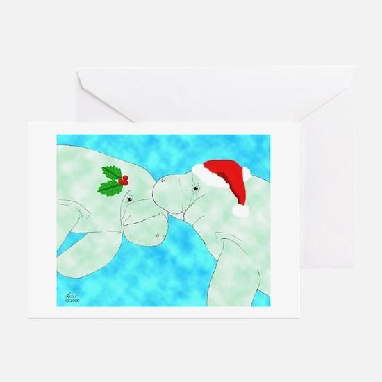 Christmas Manatees Greeting Cards