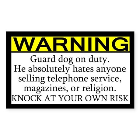 Warning Solicitor Guard Dog Rectangle Sticker