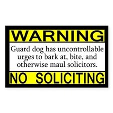 Warning No Soliciting Guard Rectangle Bumper Stickers