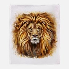 Artistic Lion Face Throw Blanket