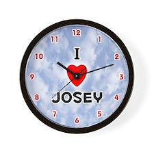 I Love Josey (Red/Blk) Valentine Wall Clock