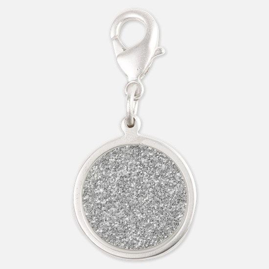 Silver Gray Glitter Texture Charms