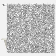 Silver Gray Glitter Texture Shower Curtain