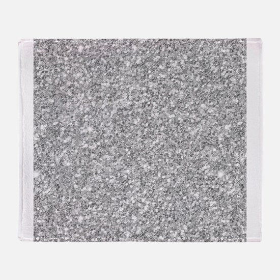 Silver Gray Glitter Texture Throw Blanket