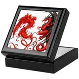 Dragon phoenix Square Keepsake Boxes