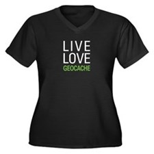Live Love Ge Women's Plus Size V-Neck Dark T-Shirt