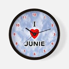I Love Junie (Red/Blk) Valentine Wall Clock