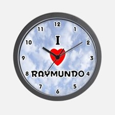 I Love Raymundo (Black) Valentine Wall Clock