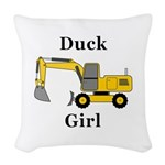 Duck Girl Woven Throw Pillow
