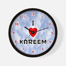 I Love Kareem (Red/Blk) Valentine Wall Clock