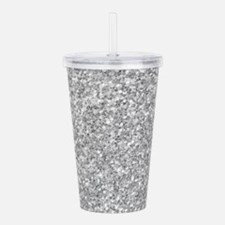 Silver Gray Glitter Te Acrylic Double-wall Tumbler