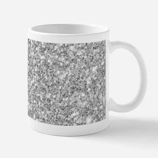 Silver Gray Glitter Texture Mugs