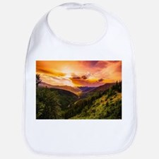 Beautiful Sunset Mountains Valley Landsca Baby Bib